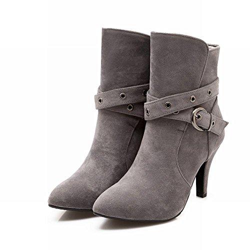 ... Mee Shoes Damen modern Nubukleder Schnalle-Dekoration Knöchelstiefel  Grau ...