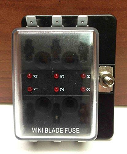MINI BLADE FUSE BLOCK HOLDER LED INDICATOR MARINE BOAT 6 GANG US PATENT 6775148 ()