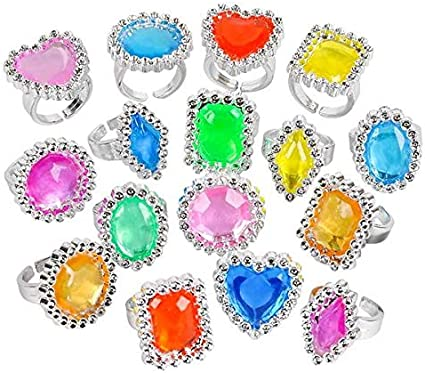 Assorted Colors and Designs Rhode Island Novelty 144 Plastic Glitter Rings