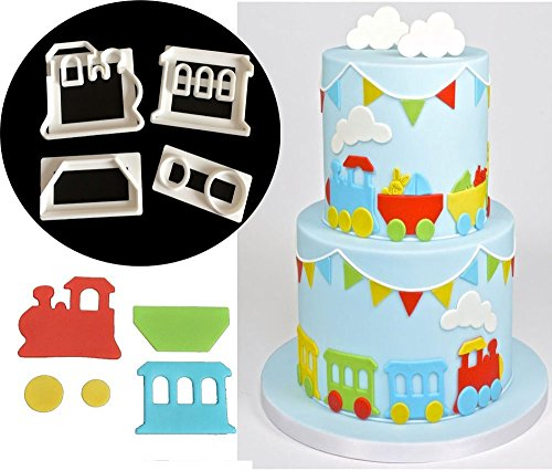 CH 4pcs Small Train Cookie Cutters Fondant Sugarcraft Fondant Cookie Plunger Cutters Decorating Kit (Train Cake Kit)