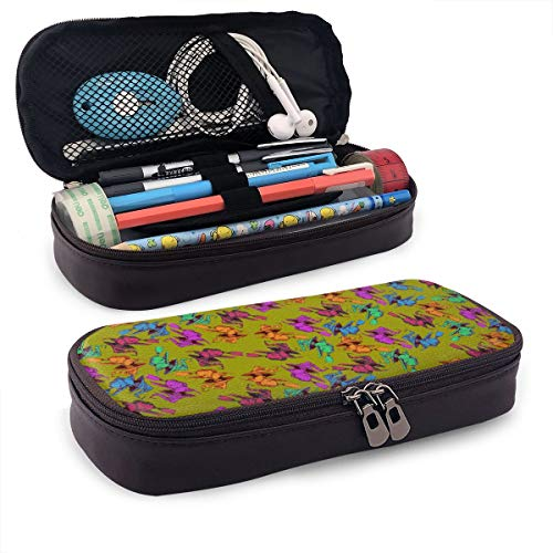 Happy Halloween Witch Pattern Pencil Case Large Capacity Pen Bag Makeup Cosmetic Bag Pencil Pouch Double Zipper Multi-Compartment School Office]()
