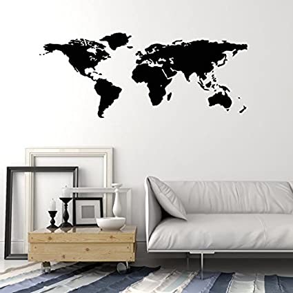 Amazon world map outline continents country nations europe world map outline continents country nations europe asian africa mural wall art decor vinyl sticker p017 gumiabroncs Gallery