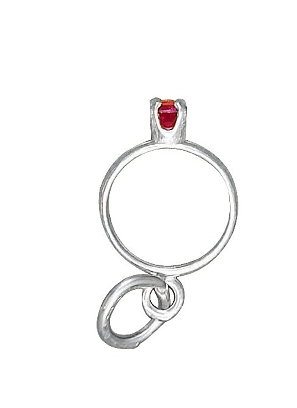 Sterling Silver Girls .8mm Cubic Zirconia July Birth Month Wedding Ring Pendant Necklace