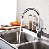 Vejaoo Contemporary New Fashion Copper Five-layer Filter Bubbler Double Handles 360 Degree Rotating Kitchen Faucet