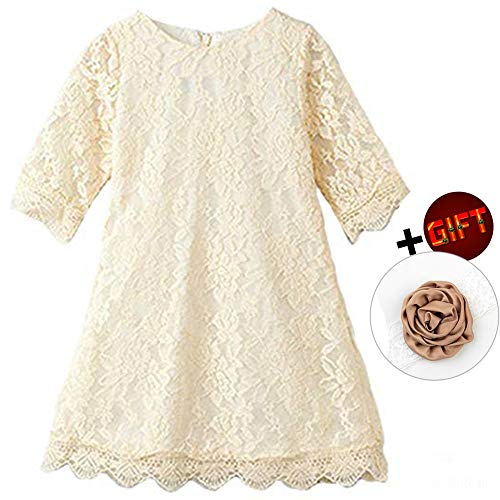 Flower Dress for Little Girls 3 Years Old Sleeveless Floor Length Special Occasion Dress for Kids Lace A-Line Church Party Holiday Christmas Pageant Dress for Toddlers 3T White Princess (Beige -