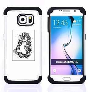 """Samsung Galaxy S6 / SM-G920 - 3 en 1 impreso colorido de Altas Prestaciones PC Funda chaqueta Negro cubierta gel silicona suave (Natación Negro Blanco Dibujo Pescado"""")"""