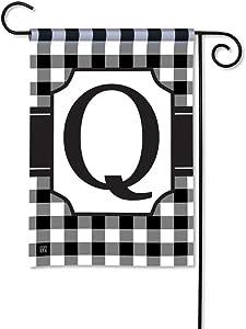 BreezeArt Studio M Black & White Check Monogram Q Decorative Garden Flag – Premium Quality, 12.5 x 18 Inches