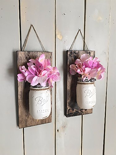 Floral wall sconce, Individual mason jar sconce, flower vase mason jar, rustic decor, painted mason jar, floral wall sconce (Vases Jars For Mason)