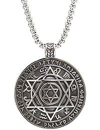 Mens Stainless Steel Talisman Pentacle of Solomon Seal Pendant Hermetic Enochian Kabbalah Wiccan Necklace