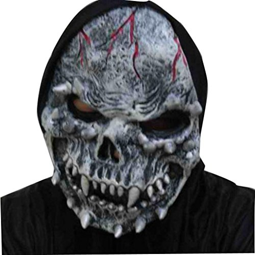 Ghost Mask,Neartime Terrorist Face Masks Halloween Party Latex Funny Mask (D)