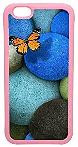 Generic 3D Lonely Butterfly Blue Rocks Cell Phone Ipod Touch 5 Rubber Pink