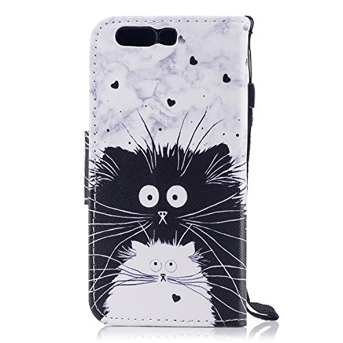 EUWLY Leather Wallet Case for Huawei P10 Plus,Ultra Thin Colorful Butterfly Flower Tree Animal Embossed Pu Leather Case Cover with Hand Strap for Huawei P10 Plus + 1 x Stylus Pen - Colorful Flower Black and White Cat