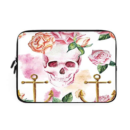 Skin Victorian Air - Skull Laptop Sleeve Bag,Neoprene Sleeve Case/Nautical Anchor with Victorian Roses Peonies Vintage Art Decor Print/for Apple MacBook Air Samsung Google Acer HP DELL Lenovo AsusWhite Pink Brown