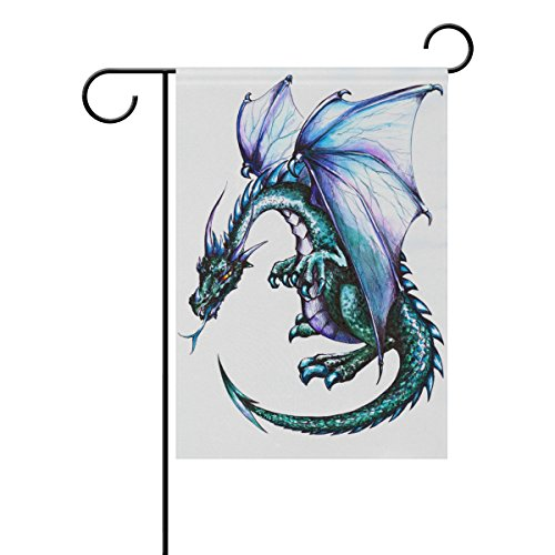 Chen Miranda Blue Dragon Picture Double-Sided Polyester Garden Home Flag Banner for Party Home Outdoor Decor 28×40 inch Review