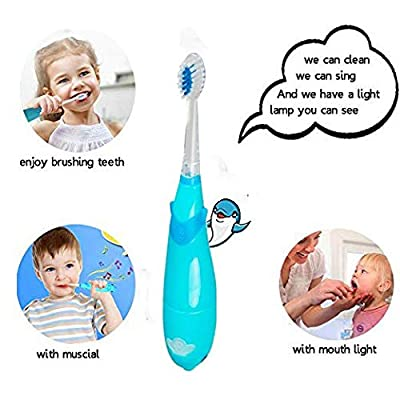 Kids Sonic Electric Toothbrush, Musical Sonic Baby Toothbrush Smart Sonic Toddler Toothbrush Battery Operated Sonic Toothbrush with 2 Replaceable Brush Heads + Screwdriver + Kid Toothbrush Base
