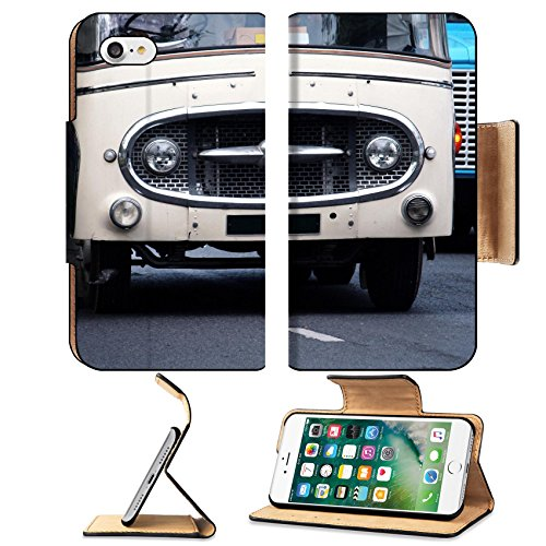 Street View Old Cars (MSD Premium Apple iPhone 7 Flip Pu Leather Wallet Case View of classic vintage american car parked street IMAGE 30174094)