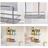 OKOKMALL US--Titanium Steel Shower Bath Storage Basket Shelf Kitchen Bottle Rack Organizer 2T