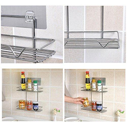OKOKMALL US--Titanium Steel Shower Bath Storage Basket Shelf Kitchen Bottle Rack Organizer 2T by OKOKMALL US