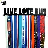 Visual Elite | Live Love Run | Medal Display Hanger Hand-Forged Black Metal Hanger Design For Marathon, Running, Race, Etc. The Medal Hangers Collection