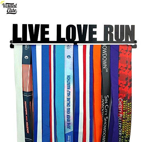 - Visual Elite | Live Love Run | Medal Display Hanger | Hand-Forged Black Metal Hanger Design for Marathon, Running, Race, Etc. | The Medal Hangers Collection