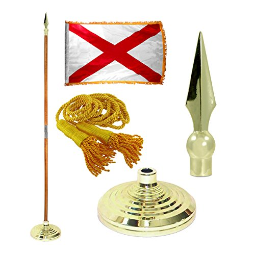 Indoor Oak Flagpole (Alabama 3ft x 5ft Flag, Flagpole, Base, and Tassel (8 Ft Oak Pole, Metal Spear))