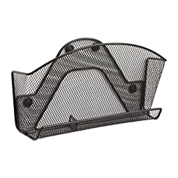 Safco Products 4180BL Onyx Mesh Magnetic File Pocket with Accessory Organizer, Black