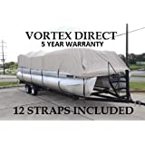 "Vortex New Beige 24 FT Ultra 5 Year Canvas Pontoon/Deck Boat Cover, Elastic, Strap System, FITS 22'1"" FT to 24' Long Deck Area, UP to 102"" Beam (Fast - 1 to 4 Business Day DELIVERY)"