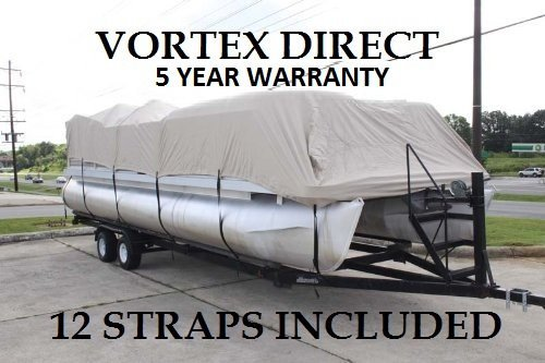 Vortex New Beige 20 FT Ultra 5 Year Canvas Pontoon/Deck Boat Cover, Elastic, Strap System, FITS 18'1'' FT to 20' Long Deck Area, UP to 102'' Beam (Fast - 1 to 4 Business Day DELIVERY) by Vortex