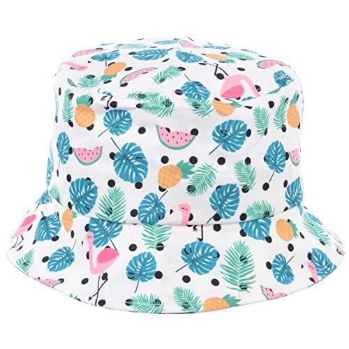 BYOS Fashion Packable Reversible Black Printed Fisherman Bucket Sun Hat, Many Patterns (Polka Dot Flamingo Fruity Party White (Nonreversible))