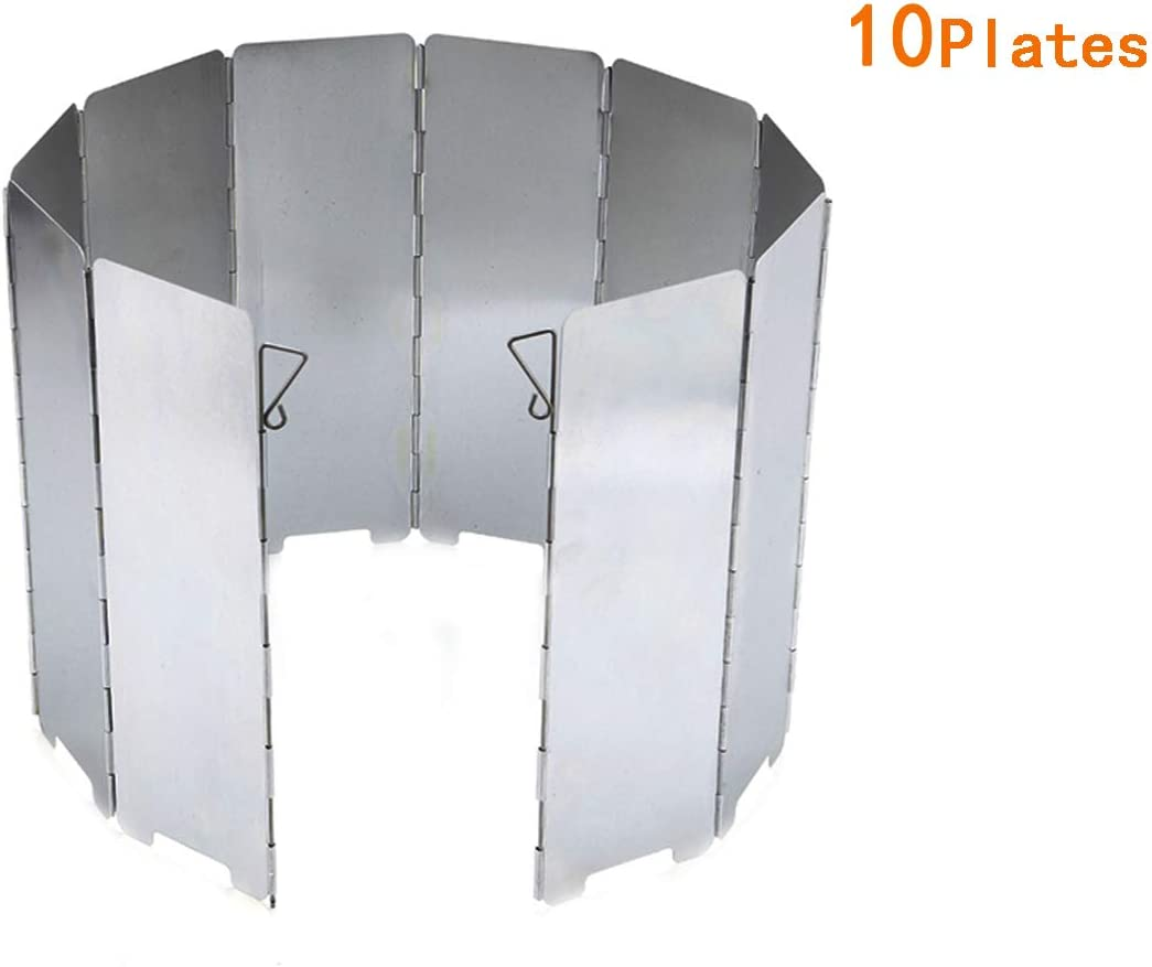 10 Plates Folding Cooker Stove Windshield Screen Camping Cook BBQ Wind Break