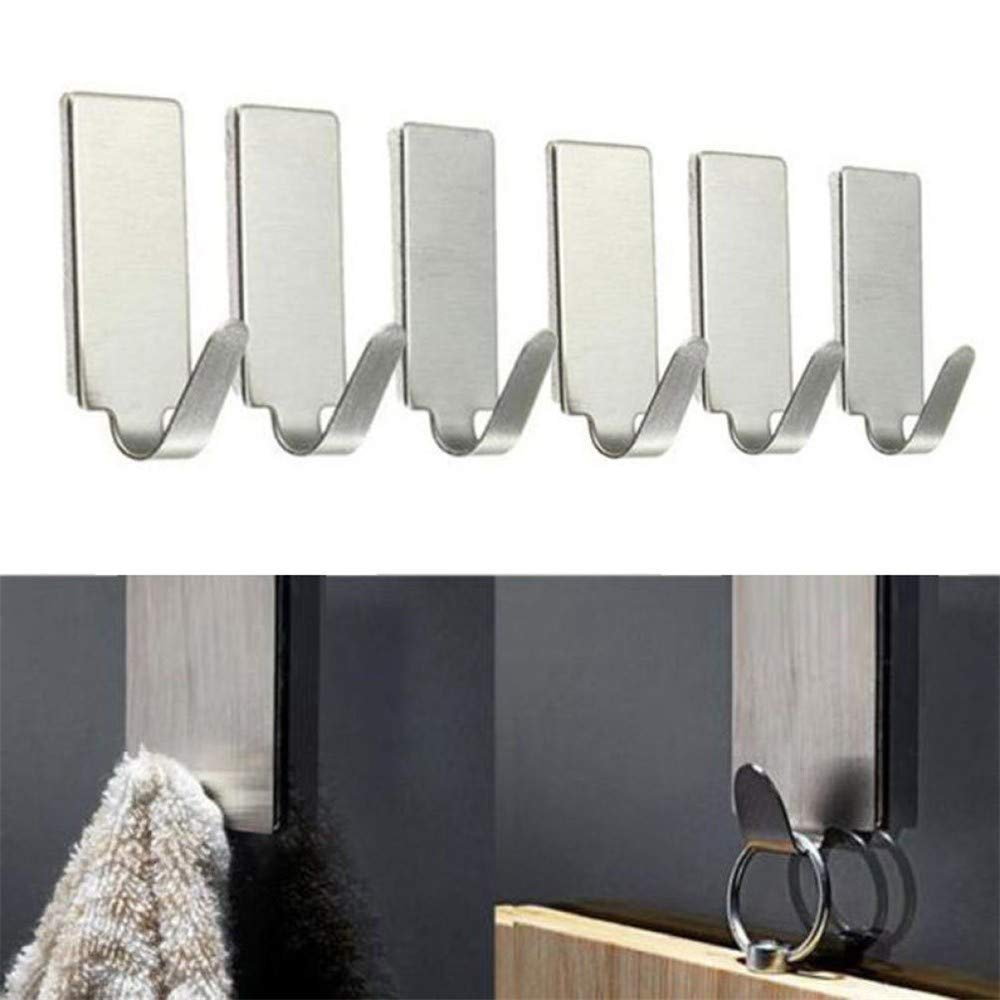 Elevin(TM)  6PCS Self Adhesive Home Kitchen Wall Door Stainless Steel Holder Hook Hanger