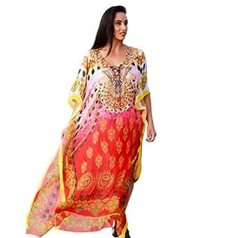Kivaana Women's Plus Kaftans, Kaftan Dress, Caftan Dress, Beach Kaftan, Boho Kaftan Dress, Kaftan, Moroccan Kaftan, Plus Size Caftans (Size-2)