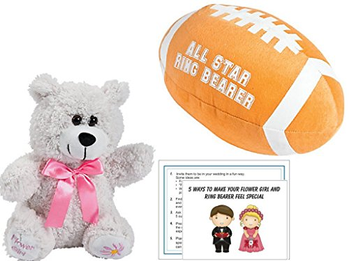 Plush Flower Girl Teddy Bear and and All Star Ring Bearer Football, includes 5 ways to make them feel special Tip Card (Flower Girl Bears)