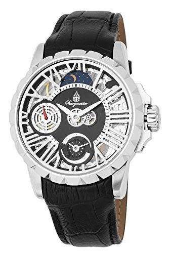 Burgmeister Men's Mechanical Hand Wind Stainless Steel and Leather Casual Watch, Color:Black (Model: BM237-102)