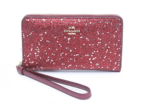COACH STAR GLITTER PRINT PHONE WALLET (OXBLOOD) by Coach