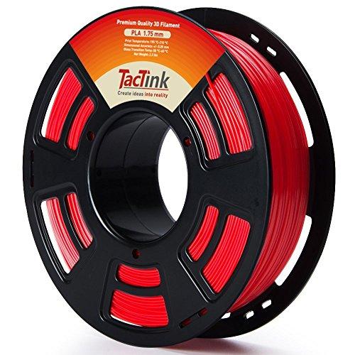 Tactink 3D Printer Filament, PLA Filament 1.75mm, 1 kg Spool (2.2LBS), Dimensional Accuracy +/- 0.03 mm, Red