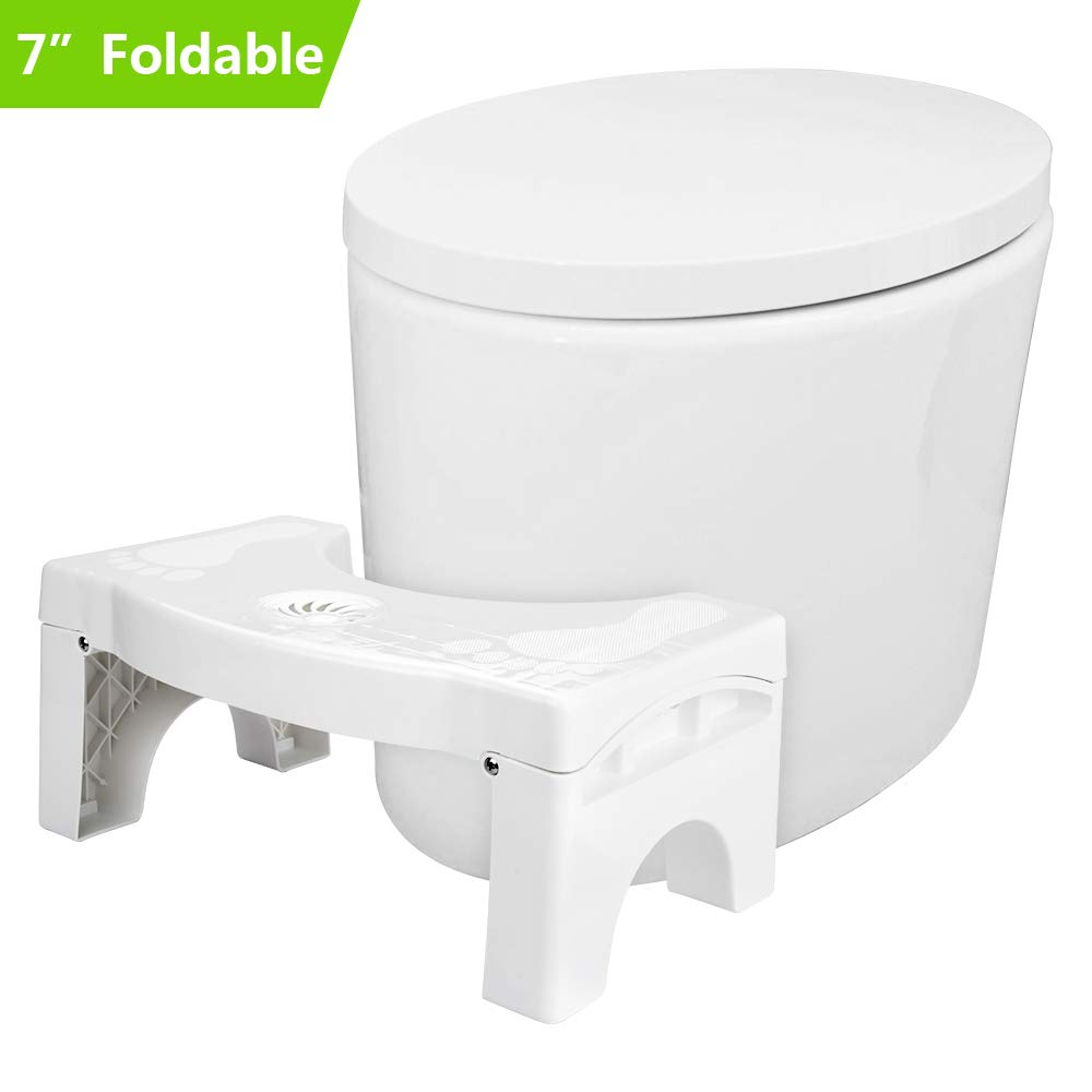 Aitsite Folding Toilet Stool Upgraded Version Squatting Stool with Air Freshener Container Hemorrhoid Treatment Foldable Potty Stool for Bathroom by Aitsite