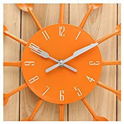 Orange Kitchen Cutlery Utensil Wall Clock Spoon Fork Home Decoration by 24/7 store