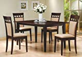 5pc Casual Dining Table & Chairs Set Contemporary Style Cappuccino Finish For Sale