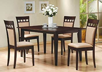 5pc Casual Dining Table Chairs Set Contemporary Style Cappuccino Finish