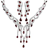 KnSam Women Platinum Plate Leaf Tassel Red Necklace Earrings Set Crystal [Novelty Bridal Jewelry Set]
