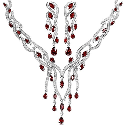 KnSam Women Platinum Plate Leaf Tassel Red Necklace Earrings Set Crystal [Novelty Bridal Jewelry Set] by KnSam