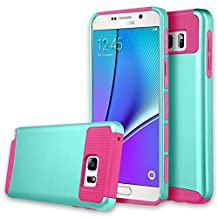 Note 5 Case, Galaxy Note 5 Case, Asstar Hybrid Dual Layer Plastic Hard Shell Flexible TPU Protective Shock Absorbing Impact Defender Slim Case Cover For Samsung Galaxy Note 5 (Mint rose)
