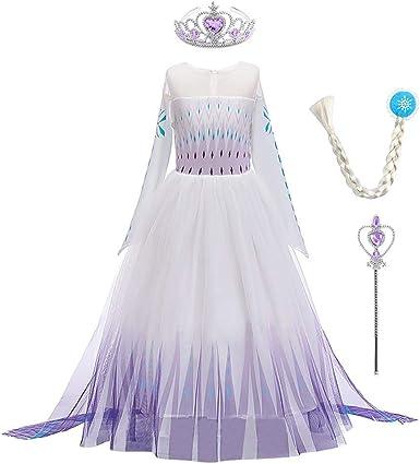 Oferta amazon: OBEEII - Disfraz de princesa de Elsa de Frozen 2. Disfraz de carnaval, cosplay, Halloween, fiesta de Navidad, para niñas de 2 a 14 años Talla 7-8 años