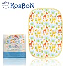 Kosbon 16''x12'' Infant Baby Deluxe Flannel And Bamboo Fiber Cotton Change Pad,Waterproof Cartoon Pattern Diaper Changing Pad For Home And Travel (S Size, Giraffe)