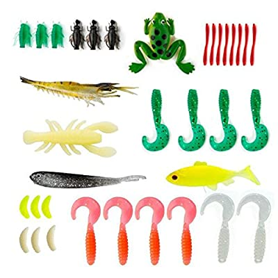 77-Pcs Fishing Lures Kit Set For Bass,Trout,Salmon,Including Spoon Lures ,Soft Plastic worms, CrankBait,Jigs,Topwater Lures (with Free Tackle Box)-by Saimanqiu