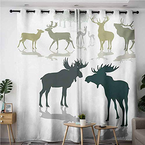 VIVIDX Indoor/Outdoor Curtains,Antlers Elk Deer and Fawn Silhouette Forest at The Background World Natural Habitat Theme,Darkening Thermal Insulated Blackout,W72x84L,Green Black