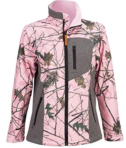 TrailCrest Trail Crest Women's Camo Waterproof, Windproof Soft Shell Jacket = (S, Grey)