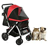 HPZ PET-ROVER Premium Heavy-Duty Dog/Cat/Pet Stroller Travel Carriage with convertible compartment for small, medium & large pets (Blue)