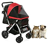 HPZ PET ROVER Premium Heavy Duty Dog/Cat/Pet Stroller Travel Carriage with convertible compartment/Zipperless Entry/Reversible Handle Bar/Weather Resistance for Small, Medium and Large Pets (Red)